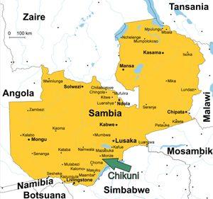 Sambia Karte - Chikuni