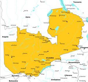 Landkarte Sambia